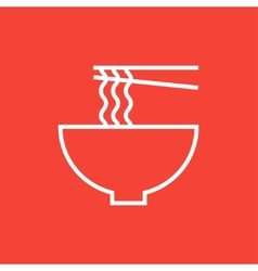 Bowl of noodles with pair chopsticks line icon vector