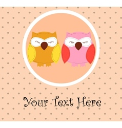 Card with sleeping owls for your design vector image