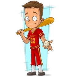 Cartoon baseball player in red uniform vector image