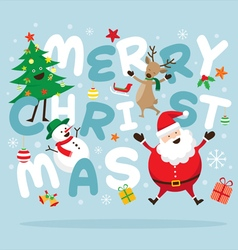 Christmas Santa Claus and Friends Lettering vector image vector image
