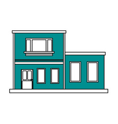 Color silhouette cartoon blue facade two house vector