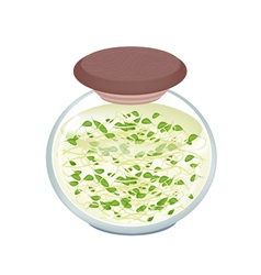 Delicious pickled beans sprouts in a jar vector