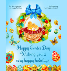 Easter spring holiday egg hunt celebration poster vector