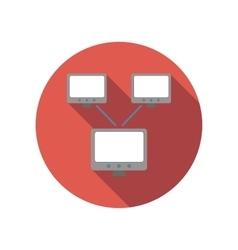 Exchange of data between computers flat icon vector