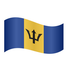 Flag of barbados waving on white background vector