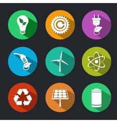 Flat Energy and Ecology Icons Set vector image vector image