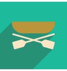 Flat icon with long shadow boat oars vector