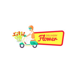 Flower delivery sticker with courier vector