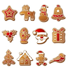 Gingerbread christmas cookies set vector image vector image