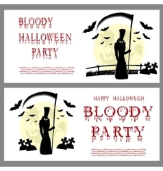 Halloween banner death and scary scythe vector