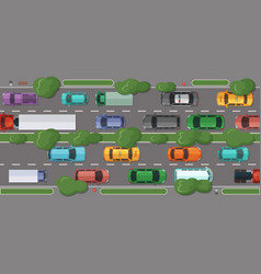 highway with a lot of cars and vehicles vector image vector image
