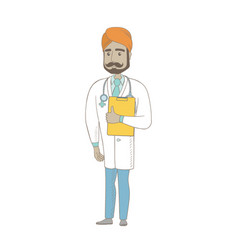 Indian doctor holding clipboard with papers vector