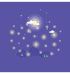 Landscape mountain at the night art vector