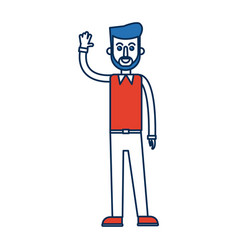 Man character standing waving hand vector
