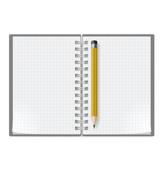 notebook with sheets in a cage and yellow pencil vector image