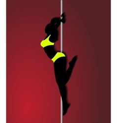 Pole dancer in bright yellow clothes sexy vector