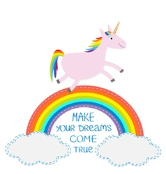 Rainbow and cloud in the sky cute unicorn make vector