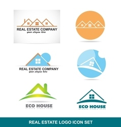 Real estate logo icon set vector