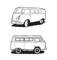 Retro bus camping car view from different angles vector
