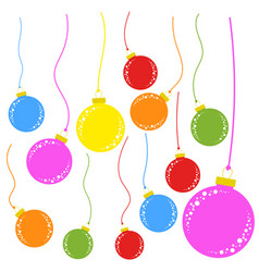 set of flat colored isolated christmas tree toys vector image