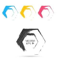 Set of hand color hexagones vector image vector image
