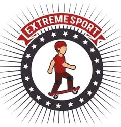 skateboarder extreme sport banner emblem vector image