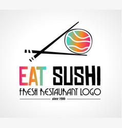 sushi restaurant flat style logo design for food vector image vector image