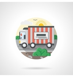 Truck on a road color detailed icon vector