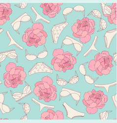 underwear and rose seamless pattern on light blue vector image
