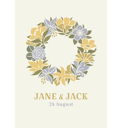 Wedding design with floral wreath vector image vector image