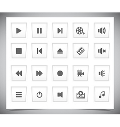 White media buttons vector image vector image