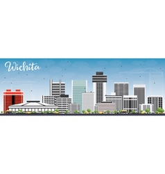 Wichita Skyline with Gray Buildings vector image vector image