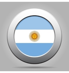 Metal button with flag of argentina vector