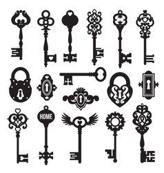 Black keys and locks set vector