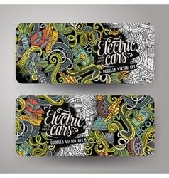 Cartoon doodles electric cars banners vector
