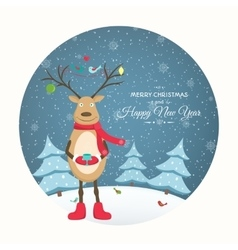 Xmas card deer winter evening landscape cutout vector
