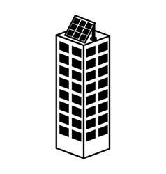 Building with panel solar silhouette isolated icon vector