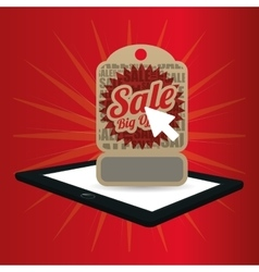 Big offer sale online technology red background vector