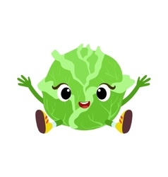 Big eyed cute girly cabbage character sitting vector