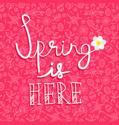 Spring season card quote on doodle background vector