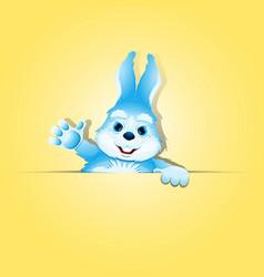 Cute rabbit holds blank banner vector