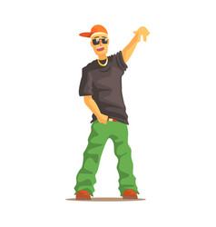 Rapper man dressed in rappers style clothing vector