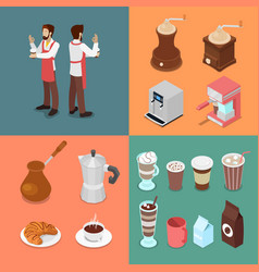 Isometric bartender and cafe elements set vector
