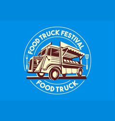 Food truck logo delivery service business vector