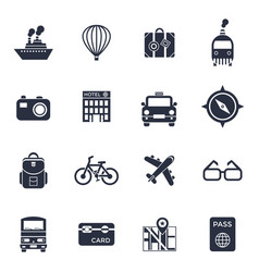 digital black travel icons vector image