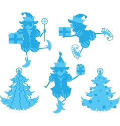 Elves silhouettes vector