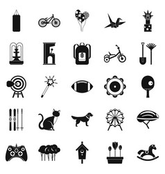 Childish sports icons set simple style vector