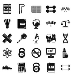 college icons set simple style vector image