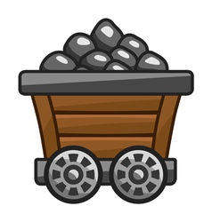 Mine cart with coal vector