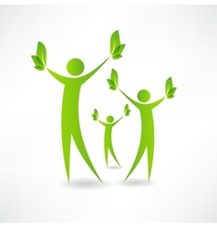 Group of people holding green leaves in the hands vector